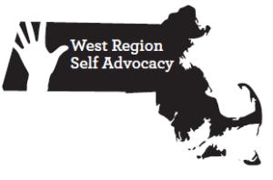 "West Region Self Advocacy logo"" black image of Massachusetts with white cutout of raised hand. Text reads: West Region Self Advocacy."